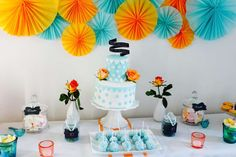 Coral and teal birthday party dessert table! See more party ideas at CatchMyParty.com!
