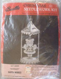 Vintage Bucilla Christmas Jeweled Santa Mobile Needlework Kit New in Package #Bucilla