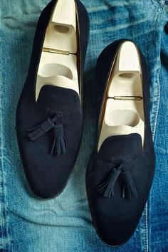 Navy Blue Tassel Loafers. . Men's Shoes