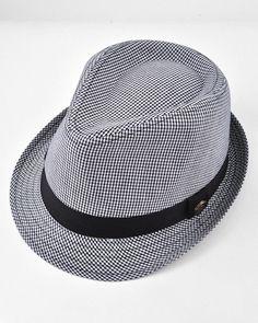 Unisex / Black Fedora / Small Checker W/plain Band / 100% Cotton / Small To Medium
