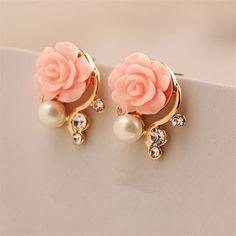 Fashion Jewelry New Earings For Women Korean Style Pink Rose  Crystal Pearl Double Side. Earring Type: Stud EarringsItem Type: EarringsFine or Fashion: FashionMaterial: Semi-precious StoneStyle: TrendyBack Finding: Push-backMetals Type: Zinc AlloyGender: Women