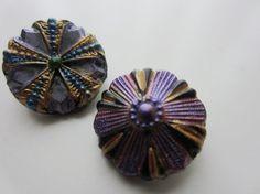Vintage Buttons  Czech lot of 2 Black glass by pillowtalkswf, $10.50