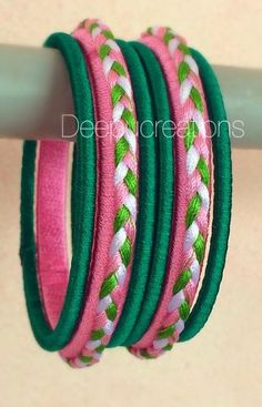 70 best ideas for diy bedroom art how to make Silk Thread Bangles Design, Silk Thread Necklace, Silk Bangles, Bridal Bangles, Thread Jewellery, Fabric Jewelry, Diy Earrings And Necklaces, Bracelets, Uses Of Silk