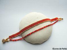 Bracelet multi tours rouge et doré en perle par OeuvresdePerles