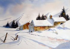 The French Alps Watercolour Paintings, Watercolours, Watercolor Art, Anthony Smith, French Alps, Winter Landscape, Love Art, Earn Money, Snow