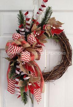 Burlap Poinsettia Grapevine Christmas Wreath by dottiedot05