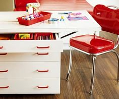 kids' zone--I'd have these behind one of my cabinet doors, but I like the idea