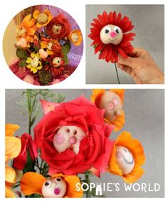 These stocking-face flowers make for great personal gifts! Learn how to make them on sophie-world.com #flower #stocking #craft #DIY