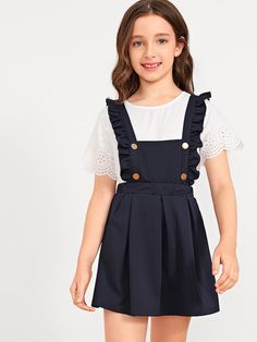 SheIn offers Girls Ruffle Strap Button Front Flare Skirt & more to fit your fashionable needs. Cute Little Girl Dresses, Dresses Kids Girl, Cute Girl Outfits, Cute Outfits For Kids, Baby Frocks Designs, Kids Frocks Design, Girls Pinafore Dress, Baby Girl Dress Patterns, Alex Perry