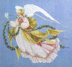 A lovely detailed picture of an angel with a garland of flowers and a dove.