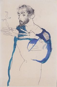 Klimt~by Egon Schiele~ this dude has t-rex arms... but in a rad way