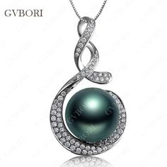gvbori 18k gold tahitian black pearls & diamond pendant+925 sterling silver chain necklace round party