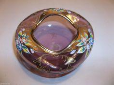 "Vintage MURANO Venetian AMETHYST Glass GOLD Gilt ENAMELED Ashtray PIN TRAY 4.5"""