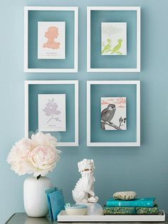 Put pretty vintage cards on display with simple white frames. More inexpensive decorating ideas: http://www.bhg.com/decorating/budget-decorating/cheap/cheap-decorating-ideas/?socsrc=bhgpin050813vintagecards=9