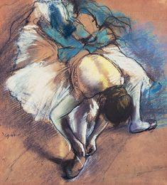 edgar degas pastels | Dancer Fastening Her Pump Pastel by Edgar Degas - Dancer Fastening Her ...