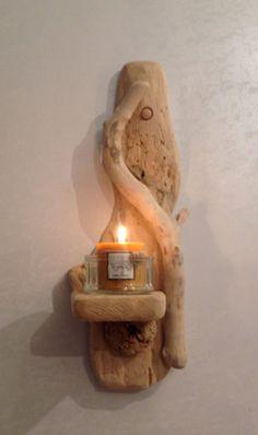 Driftwood Sconce , Candle holder , Art , Crafts , Sculpture, Nautical, Marine, Flotsam by COASTLINECRAFTS on Etsy