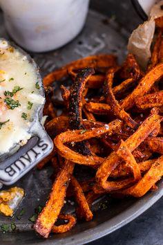 Skinny Tandoori Butter Sweet Potato Fries w/Creamy Baked Harissa Feta | halfbakedharvest.com @hbharvest