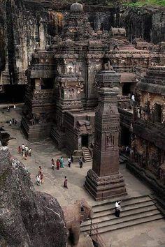 The rock hewn temple on Mt. Kailasa in Tibet (ca. century)Ellora located in the Aurangabad district of Maharashtra, India, is one of the largest rock-cut monastery-temple cave complexes in the world, and a UNESCO Places Around The World, Travel Around The World, Around The Worlds, Places To Travel, Places To See, Travel Destinations, Temples, Nepal, Wonderful Places