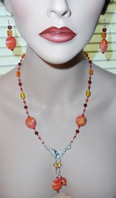 Orange and Red Glass Butterfly Necklace and Earring Set