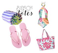 """""""beach"""" by tabitha-escoe ❤ liked on Polyvore featuring Lilly Pulitzer, Mara Hoffman, Las Bayadas, Havaianas and beachtotes"""