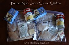 Freezer Meal and Crock pot recipe. Cream Cheese Chicken. http://fabulesslyfrugal.com/2009/03/fabuless-freezer-cooking-cream-cheese.html
