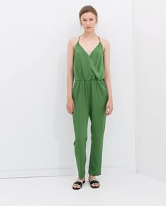 ZARA - WOMAN - LONG JUMPSUIT WITH SPAGHETTI STRAPS. Love this green!