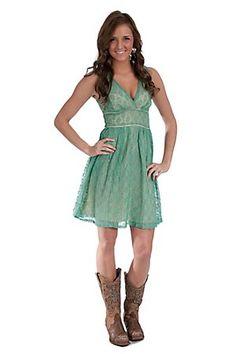 Flying Tomato Ladies Pastel Green Lace V-Neck Sleeveless Dress.