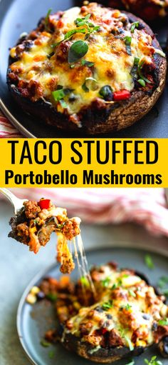 These Ground Beef Taco Stuffed Portobello Mushrooms have all the taco flavors you love without the tortilla! This easy ground beef recipe cuts the carbs but is big on flavor. Informations About GROUND Ground Beef Recipes Easy, Easy Healthy Recipes, Vegetarian Recipes, Easy Meals, Cooking Recipes, Sandwich Recipes, Portobello Mushroom Recipes, Stuffed Portobello Mushrooms, Healthy Stuffed Mushrooms