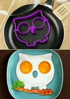 Sunday kids breakfast. Fried eggs shaped as an owl