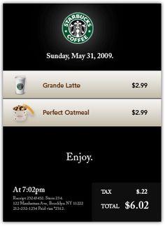 """A mockup of a better Starbucks receipt"" (From Dustin Curtis' blog). Lost & Found, Mockup, Starbucks, Latte, Digital, Blog, Scale Model"