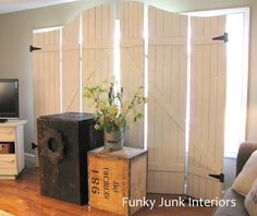 Make your own old wooden gate window screens out of pine planks via http://www.funkyjunkinteriors.net/