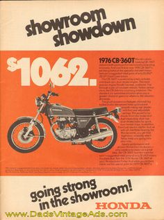 1976 Honda CB-360T for sale – $1062 – vintage motorcycle ad. My boyfriend, now my husband drove this when I first met him. ❤