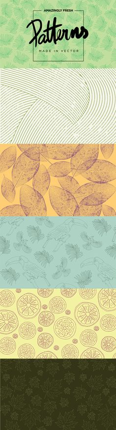 6 FRESH PATTERNS IN VECTOR. DOWNLOAD HERE: https://creativemarket.com/jack.red/171273-6-Fresh-Patterns-in-VECTOR%21