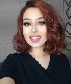 WEBSTA @ rosymelina - Hi my loves! Mine is cray cray, but I'm working extra hard today so I can ease my weekend! Hair Color Auburn, Red Hair Color, Cabelo Rose Gold, Medium Hair Styles, Curly Hair Styles, Lob Hairstyle, Hairstyles, Red Hair Don't Care, Grunge Hair