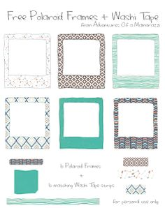 Free Cute printable Polaroid frames and matching Washi Tape strips from Adventures of a Mamarazzi