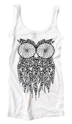 Owl Dream Catcher Bohemian Burnout Tank Top. I would pair this with light wash boyfriend jeans, black studded/spiked flats, and a black blazer! Add color with a bag or jewelry!