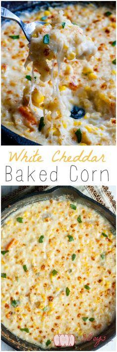Creamy White Cheddar Baked Corn| 3boysunprocessed.com