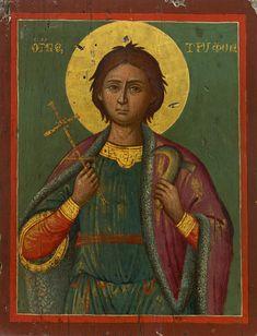 Saint Tryphon of Lampaskos: Patron Saint of Gardeners, Greek circa 1800 Byzantine Icons, Byzantine Art, Catholic Saints, Patron Saints, Religious Icons, Religious Art, Russian Icons, Religious Paintings, Best Icons
