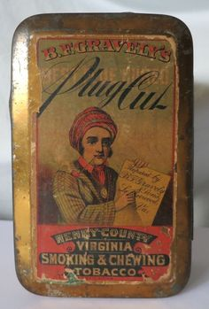 B.F. GRAVELY'S HENRY COUNTY VIRGINIA TOBACCO SCARCE ANTIQUE TIN