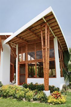 Bamboo house design with natural nuances. Staying in a bamboo house will bring you to the atmosphere of living in nature. Bamboo Architecture, Vernacular Architecture, Architecture Design, Bamboo Building, Natural Building, Building Design, Building A House, Bamboo House Design, Bamboo Structure