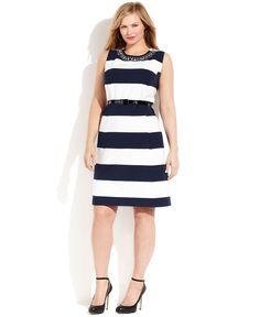 INC International Concepts - Sleeveless Striped ALine Dress