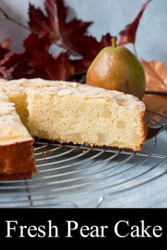This fresh pear cake is rich and buttery and incredibly moist. It's filled with soft and tender chunks of fruit and has a crispy sugary crust on top. #pearcake #recipe #pearalmondcake #pearcoffeecake Homemade Desserts, Homemade Cakes, Easy Desserts, Pear Recipes, Brunch Recipes, Dessert Recipes, Pear And Almond Cake, Pear Cake, Recipe Using Apples