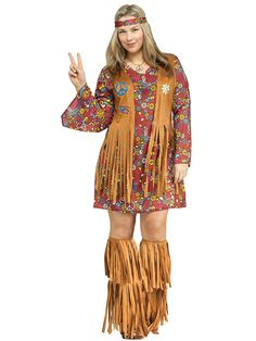 Women's Plus Size Plus Size Peace and Love Hippie Costume   New for 2014 Costumes