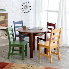 Lipper Childrens Walnut Round Table and 4 Chairs - LI109