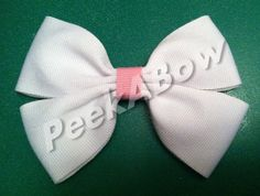 White and pink hair bow on clip basic bow by PeekABowBows on Etsy, $3.00