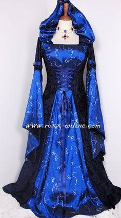 Dark blue hooded medieval dress with hood & large sleeves