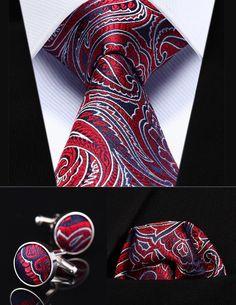 """TZP13R8 Red Blue Paisley 3.4"""" Silk Men Tie Necktie Handkerchief Cufflinks Set"""
