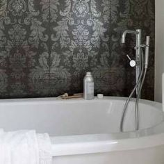 #bathroom #damask wallpaper