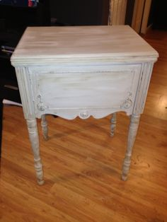 sewing machine cabinet converted into table; annie sloan french linen/old white