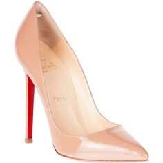 Christian Louboutin Pigalle 120 Patent Nude Pump ($625) ❤ liked on Polyvore featuring shoes, pumps, heels, sapatos, christian louboutin, red sole shoes, nude heel shoes, patent leather pointed toe pumps, heels & pumps and pointed toe high heel pumps